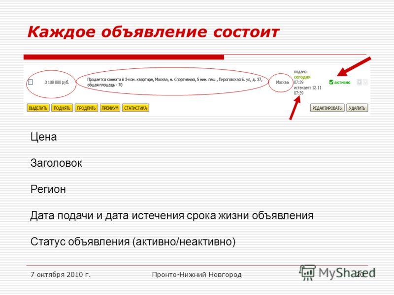 7 октября 2010 г.Пронто-Нижний Новгород20 Каждое объявление состоит Цена Заголовок Регион Дата подачи и дата истечения срока жизни объявления Статус объявления (активно/неактивно)