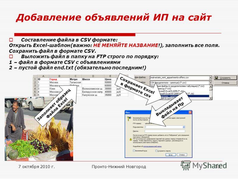 7 октября 2010 г.Пронто-Нижний Новгород31 Добавление объявлений ИП на сайт Составление файла в CSV формате: Открыть Exсel-шаблон(важно: НЕ МЕНЯЙТЕ НАЗВАНИЕ!), заполнить все поля. Сохранить файл в формате CSV. Выложить файл в папку на FTP строго по по