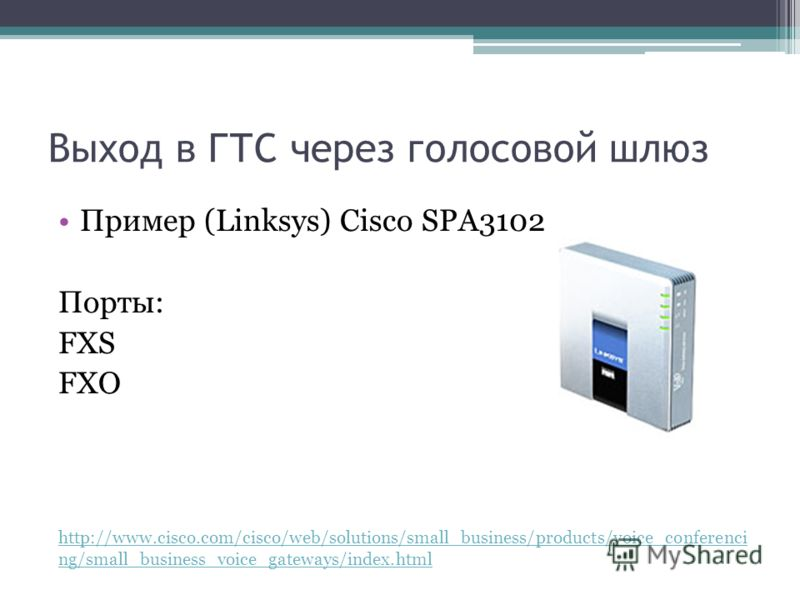 Выход в ГТС через голосовой шлюз Пример (Linksys) Cisco SPA3102 Порты: FXS FXO http://www.cisco.com/cisco/web/solutions/small_business/products/voice_conferenci ng/small_business_voice_gateways/index.html