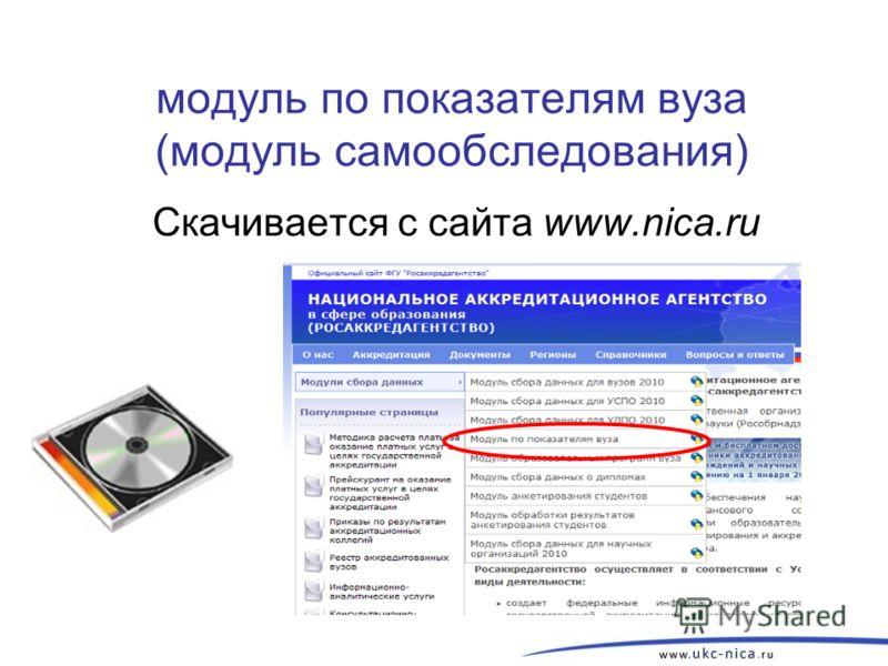 модуль по показателям вуза (модуль самообследования) Скачивается с сайта www.nica.ru 22