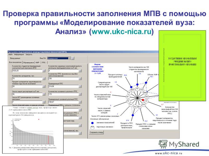 Проверка правильности заполнения МПВ с помощью программы «Моделирование показателей вуза: Анализ» (www.ukc-nica.ru)