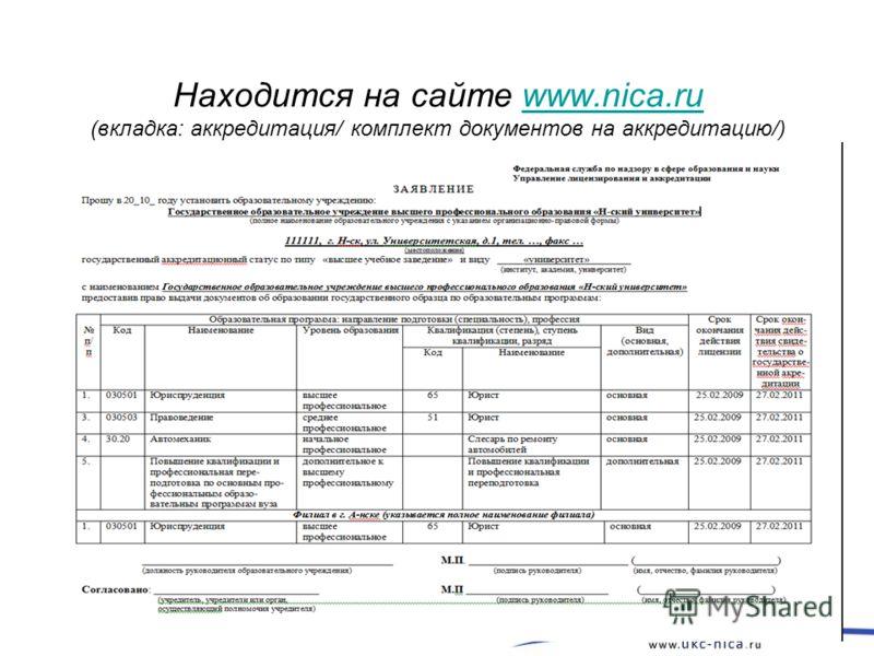 Находится на сайте www.nica.ru (вкладка: аккредитация/ комплект документов на аккредитацию/)www.nica.ru 6
