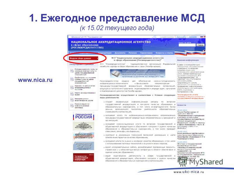 1. Ежегодное представление МСД (к 15.02 текущего года) www.nica.ru 3