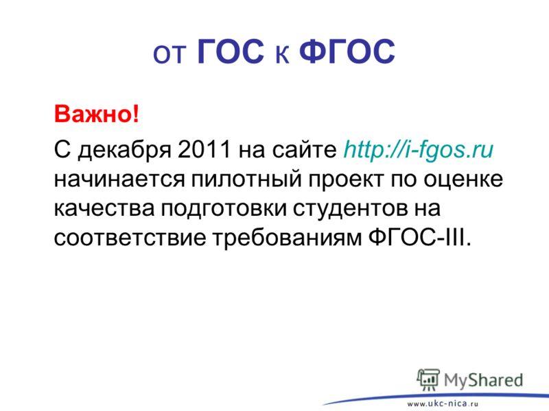 от ГОС к ФГОС Важно! С декабря 2011 на сайте http://i-fgos.ru начинается пилотный проект по оценке качества подготовки студентов на соответствие требованиям ФГОС-III.