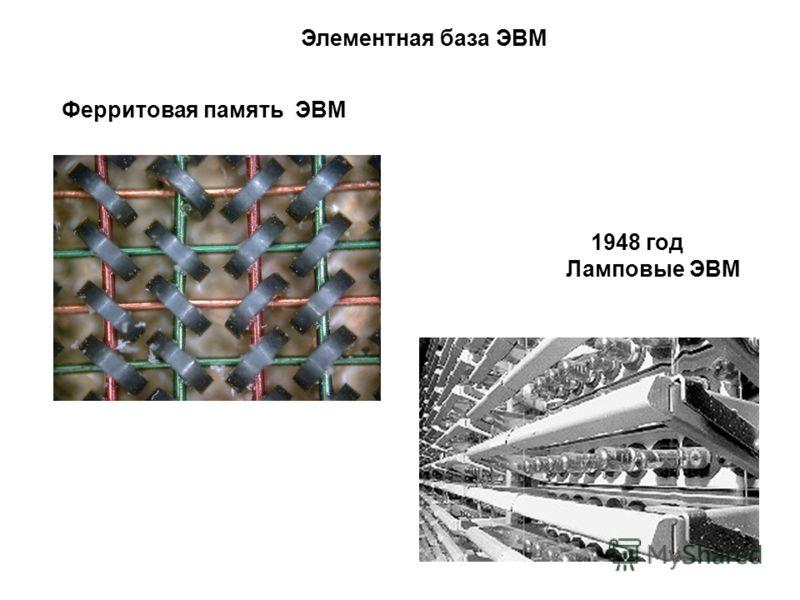 1948 год Ламповые ЭВМ Элементная база ЭВМ Ферритовая память ЭВМ