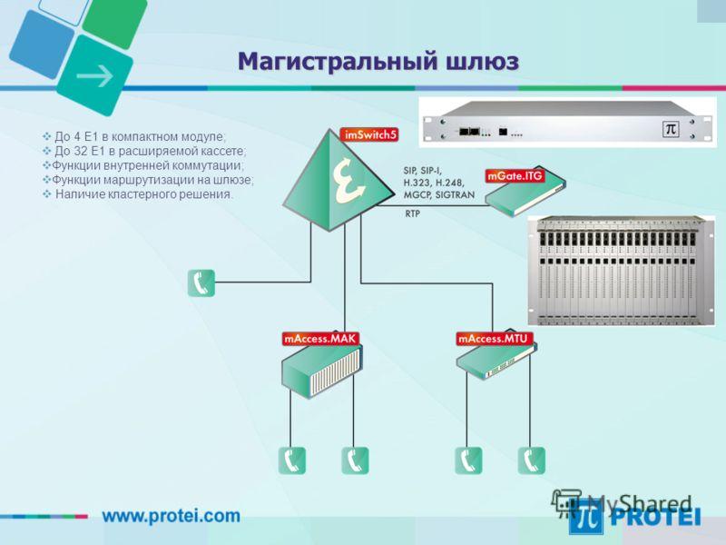 До 4 E1 в компактном модуле; До 32 Е1 в расширяемой кассете; Функции внутренней коммутации; Функции маршрутизации на шлюзе; Наличие кластерного решения. Магистральный шлюз