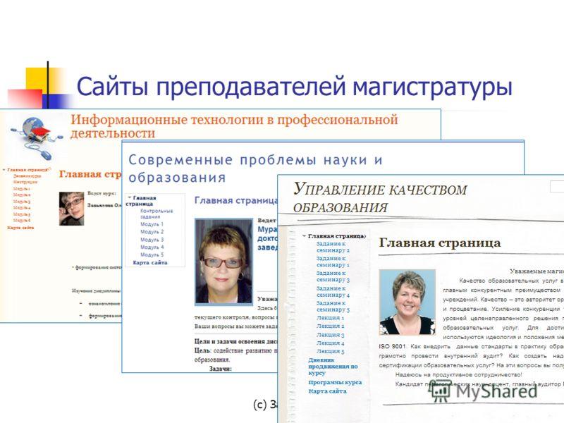 Сайты преподавателей магистратуры (с) Завьялова О.А., 2013