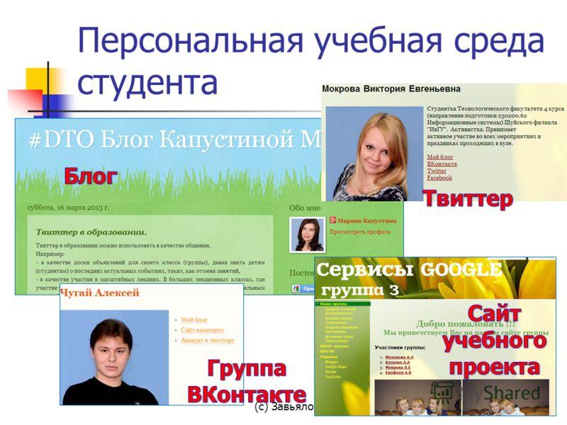 Персональная учебная среда студента (с) Завьялова О.А., 2013