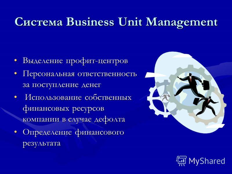 Система Business Unit Management Выделение профит-центровВыделение профит-центров Персональная ответственность за поступление денегПерсональная ответственность за поступление денег Использование собственных финансовых ресурсов компании в случае дефол