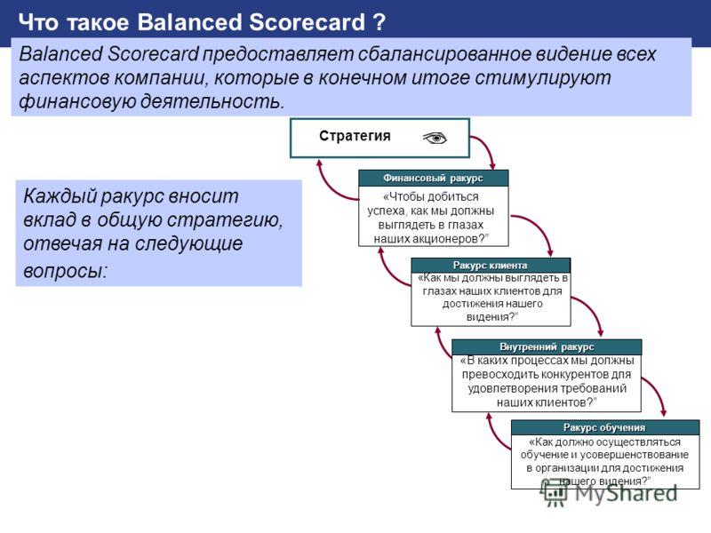 SAP AG 2002 Реализация стратегии_BSC.PPT (Юлия Кудрявцева) / 9 «Чтобы добиться успеха, как мы должны выглядеть в глазах наших акционеров? Стратегия Финансовый ракурс «Как мы должны выглядеть в глазах наших клиентов для достижения нашего видения? Раку