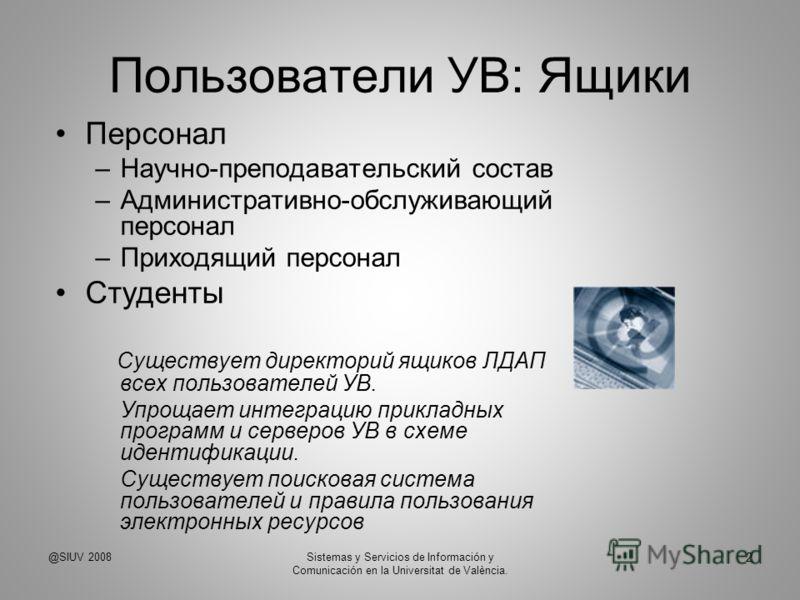 Пользователи УВ: Ящики Персонал –Научно-преподавательский состав –Административно-обслуживающий персонал –Приходящий персонал Студенты Существует директорий ящиков ЛДАП всех пользователей УВ. Упрощает интеграцию прикладных программ и серверов УВ в сх