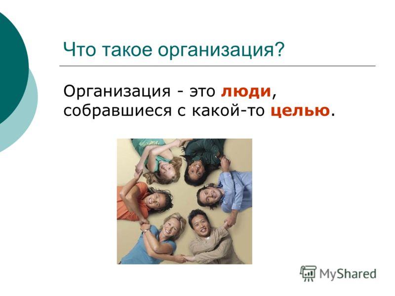 Что такое организация? Организация - это люди, собравшиеся с какой-то целью.