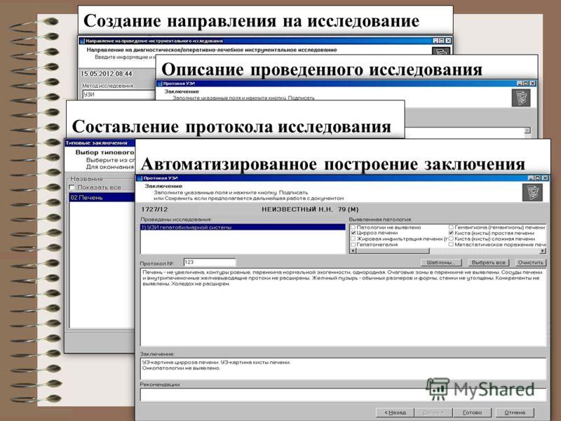 Создание направления на исследование Описание проведенного исследования Составление протокола исследования Автоматизированное построение заключения