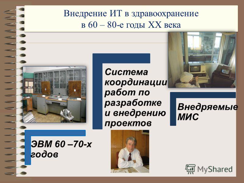 Внедрение ИТ в здравоохранение в 60 – 80-е годы XX века Внедрение ИТ в здравоохранение в 60 – 80-е годы XX века ЭВМ 60 –70-х годов Система координации работ по разработке и внедрению проектов Внедряемые МИС