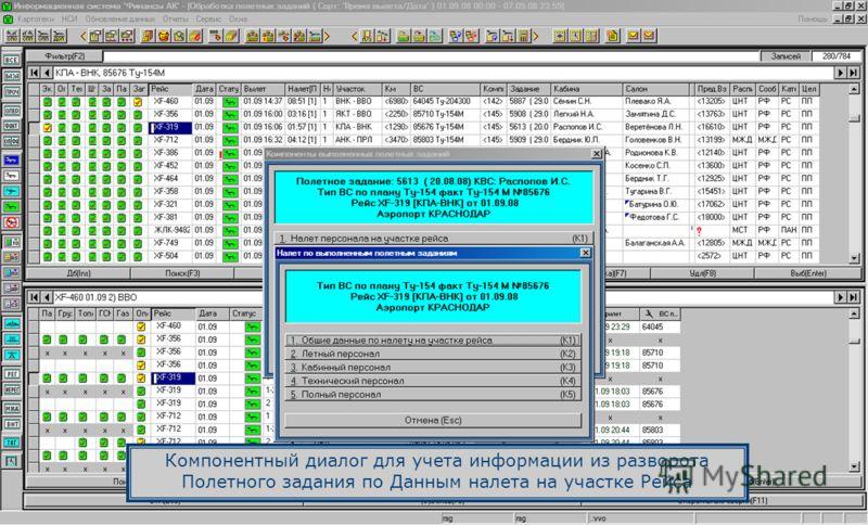 Компонентный диалог для учета информации из разворота Полетного задания по Данным налета на участке Рейса