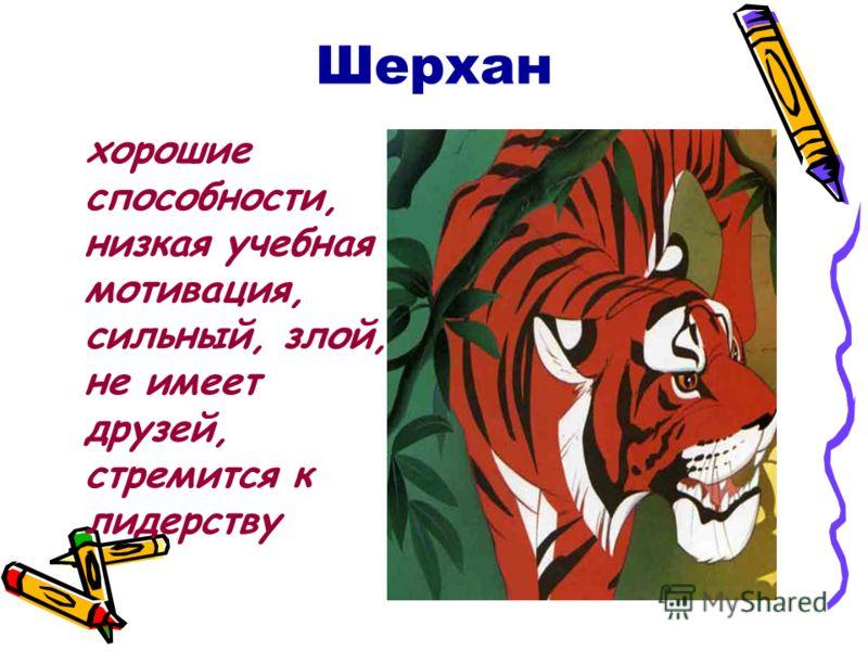Шерхан хорошие способности, низкая учебная мотивация, сильный, злой, не имеет друзей, стремится к лидерству