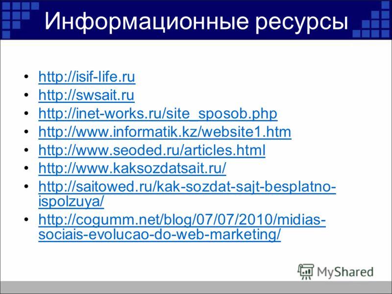 Информационные ресурсы http://isif-life.ru http://swsait.ru http://inet-works.ru/site_sposob.php http://www.informatik.kz/website1.htm http://www.seoded.ru/articles.html http://www.kaksozdatsait.ru/ http://saitowed.ru/kak-sozdat-sajt-besplatno- ispol