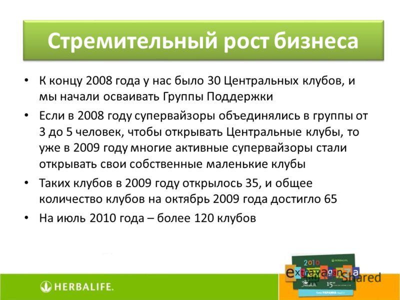 К концу 2008 года у нас было 30 Центральных клубов, и мы начали осваивать Группы Поддержки Если в 2008 году супервайзоры объединялись в группы от 3 до 5 человек, чтобы открывать Центральные клубы, то уже в 2009 году многие активные супервайзоры стали