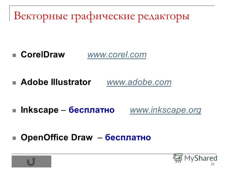 26 Векторные графические редакторы CorelDraw www.corel.comwww.corel.com Adobe Illustrator www.adobe.comwww.adobe.com Inkscape – бесплатно www.inkscape.orgwww.inkscape.org OpenOffice Draw – бесплатно