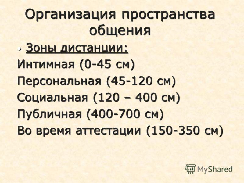 Организация пространства общения Зоны дистанции: Зоны дистанции: Интимная (0-45 см) Персональная (45-120 см) Социальная (120 – 400 см) Публичная (400-700 см) Во время аттестации (150-350 см)