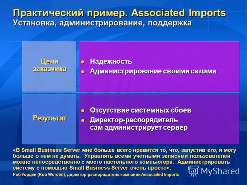 Надежность Надежность Администрирование своими силами Администрирование своими силами Отсутствие системных сбоев Отсутствие системных сбоев Директор-распорядитель сам администрирует сервер Директор-распорядитель сам администрирует сервер «В Small Bus