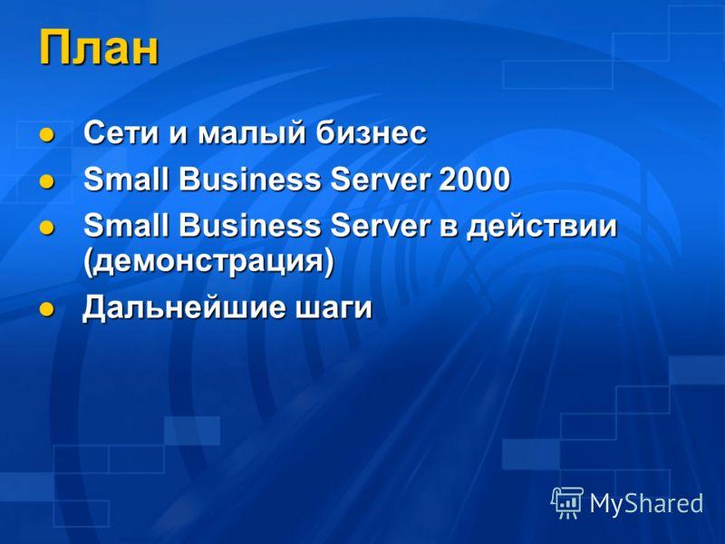 План Сети и малый бизнес Сети и малый бизнес Small Business Server 2000 Small Business Server 2000 Small Business Server в действии (демонстрация) Small Business Server в действии (демонстрация) Дальнейшие шаги Дальнейшие шаги