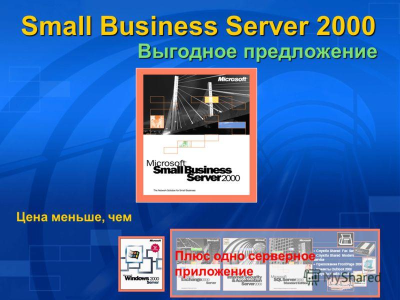 Цена меньше, чем + Служба Shared Fax Service + Служба Shared Modem Service + Приложение FrontPage 2000 + Клиенты Outlook 2000 + Служба Health Monitor Плюс одно серверное приложение Small Business Server 2000 Выгодное предложение