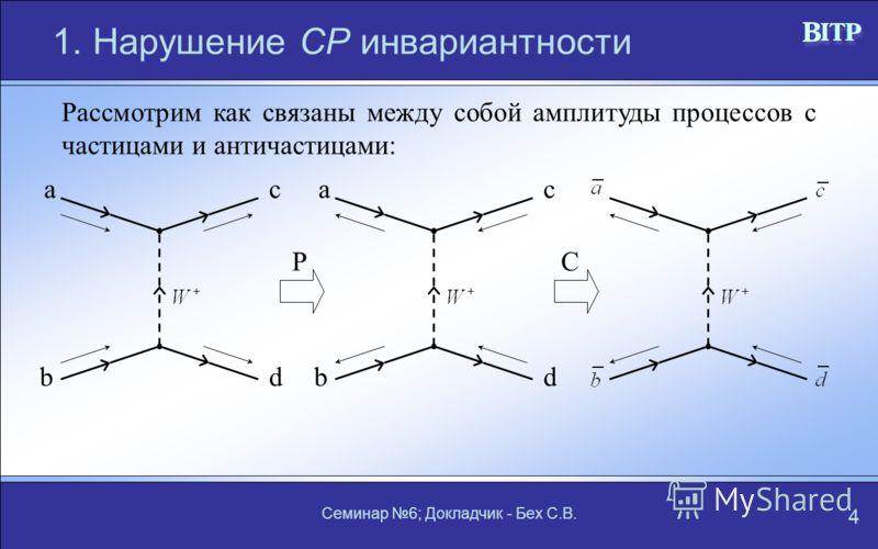 Семинар 6; Докладчик - Бех С.В. 4 1. Нарушение СР инвариантности Рассмотрим как связаны между собой амплитуды процессов с частицами и античастицами: a bd ca bd c PC