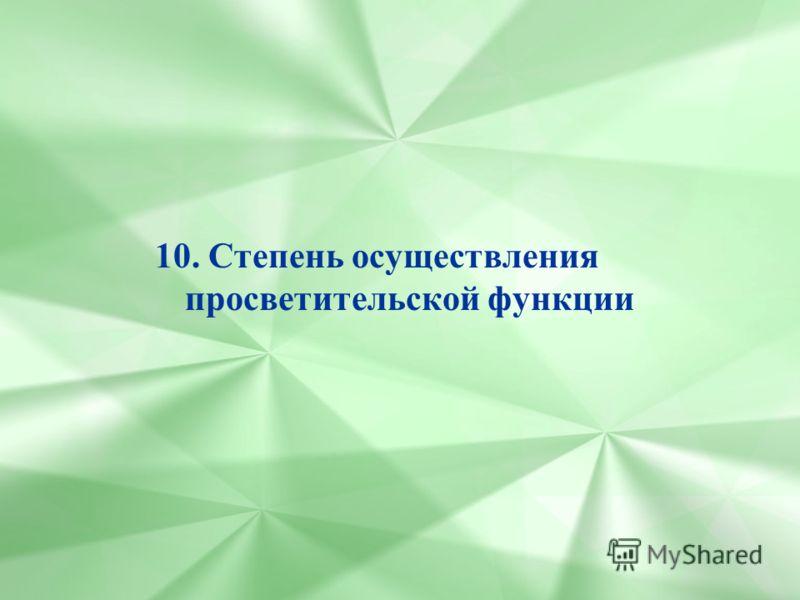 10. Степень осуществления просветительской функции