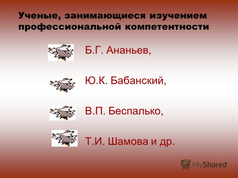 Б.Г. Ананьев, Ю.К. Бабанский, В.П. Беспалько, Т.И. Шамова и др. Ученые, занимающиеся изучением профессиональной компетентности