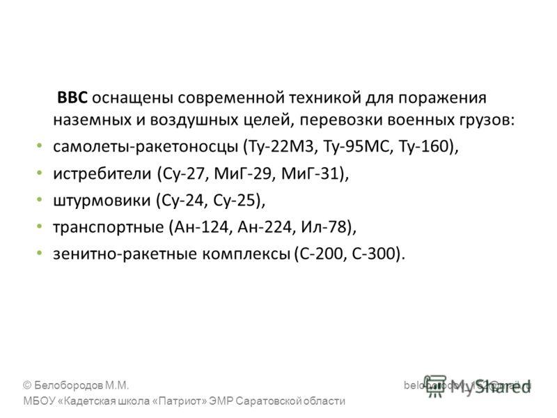 ВВС оснащены современной техникой для поражения наземных и воздушных целей, перевозки военных грузов: самолеты-ракетоносцы (Ту-22М3, Ту-95МС, Ту-160), истребители (Су-27, МиГ-29, МиГ-31), штурмовики (Су-24, Су-25), транспортные (Ан-124, Ан-224, Ил-78
