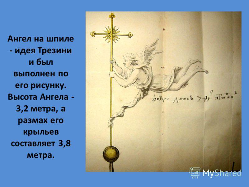 Ангел на шпиле - идея Трезини и был выполнен по его рисунку. Высота Ангела - 3,2 метра, а размах его крыльев составляет 3,8 метра.