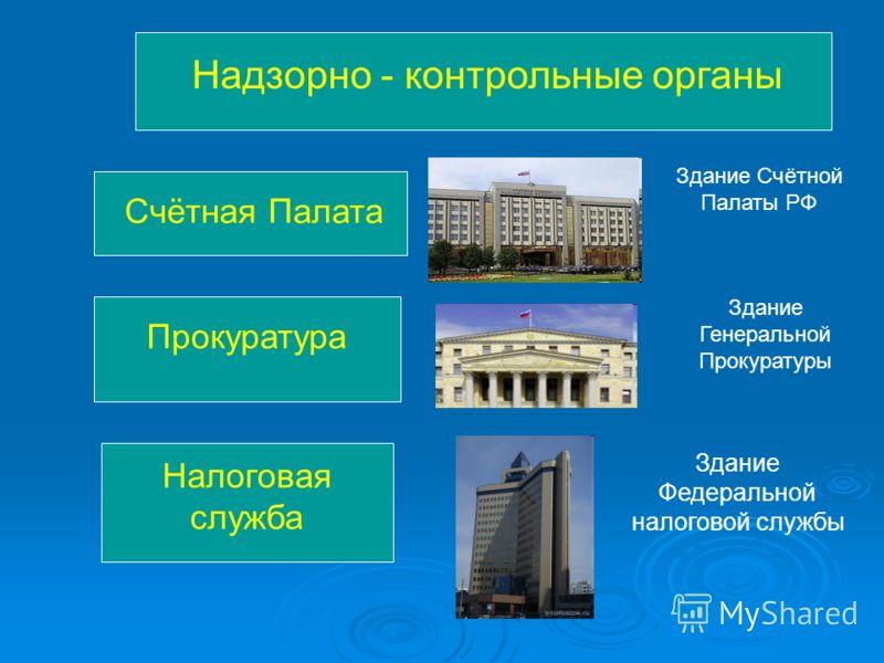 Надзорно - контрольные органы Счётная Палата Здание Счётной Палаты РФ Прокуратура Здание Генеральной Прокуратуры Налоговая служба Здание Федеральной налоговой службы