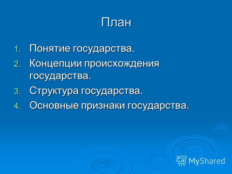 План 1. Понятие государства. 2. Концепции происхождения государства. 3. Структура государства. 4. Основные признаки государства.