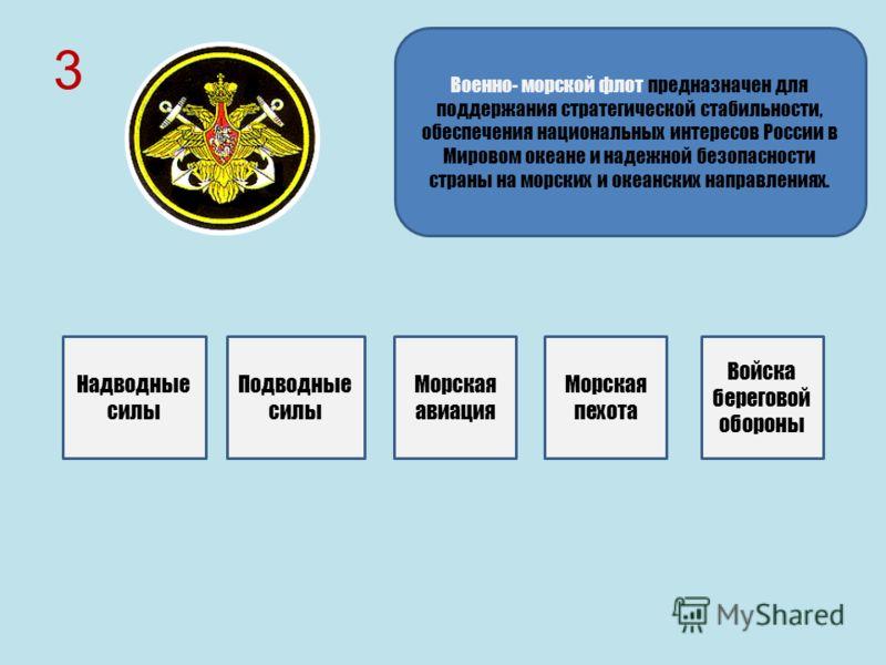 3 Военно- морской флот предназначен для поддержания стратегической стабильности, обеспечения национальных интересов России в Мировом океане и надежной безопасности страны на морских и океанских направлениях. Надводные силы Подводные силы Морская авиа