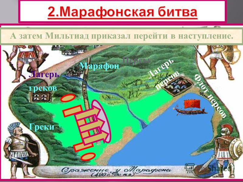 Греки Персы Марафон Лагерь греков Лагерь персов Афины Флот персов А затем Мильтиад приказал перейти в наступление.