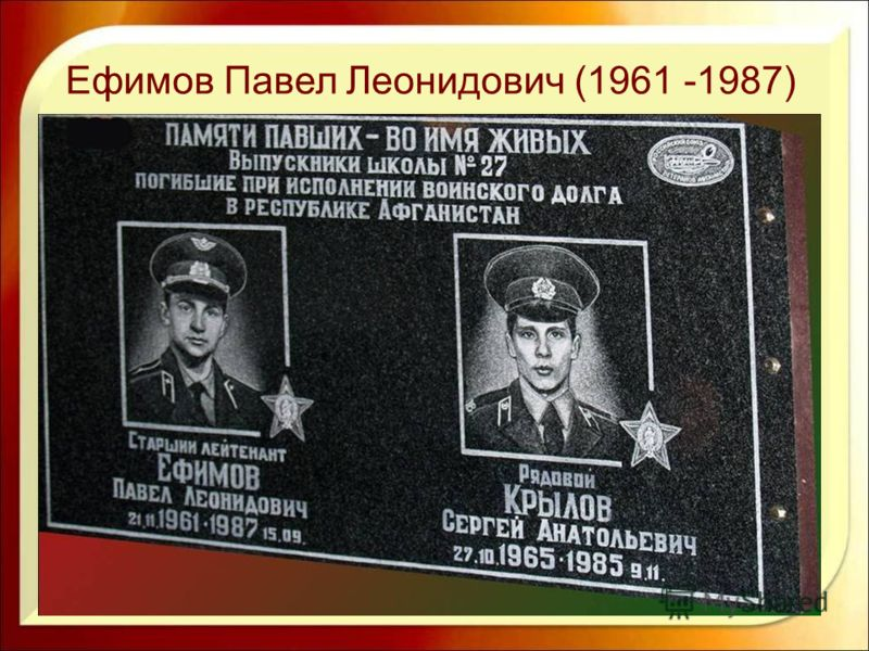 Ефимов Павел Леонидович (1961 -1987)