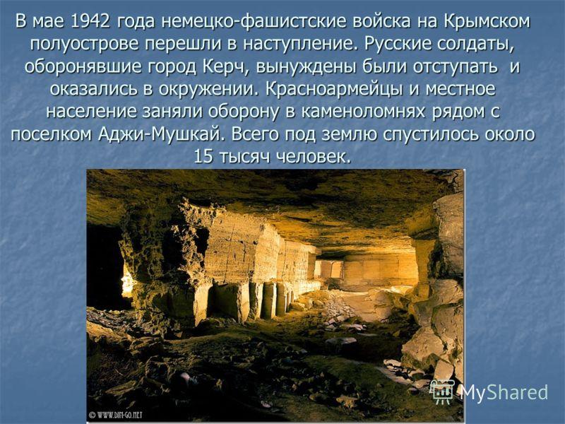 В мае 1942 года немецко-фашистские войска на Крымском полуострове перешли в наступление. Русские солдаты, оборонявшие город Керч, вынуждены были отступать и оказались в окружении. Красноармейцы и местное население заняли оборону в каменоломнях рядом
