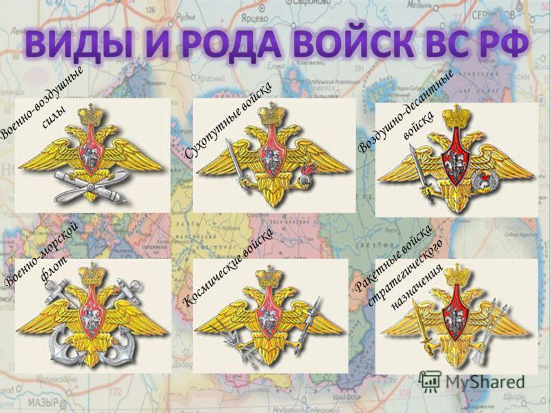 Военно-воздушные силы Военно-морской флот Сухопутные войска Космические войска Ракетные войска стратегического назначения Воздушно-десантные войска