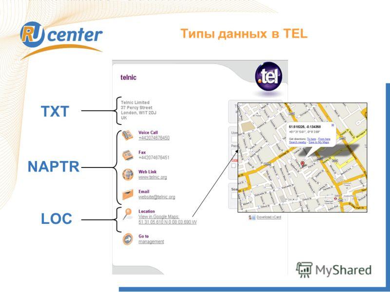 Как работает домен TEL? Типы данных в TEL TXT NAPTR LOC