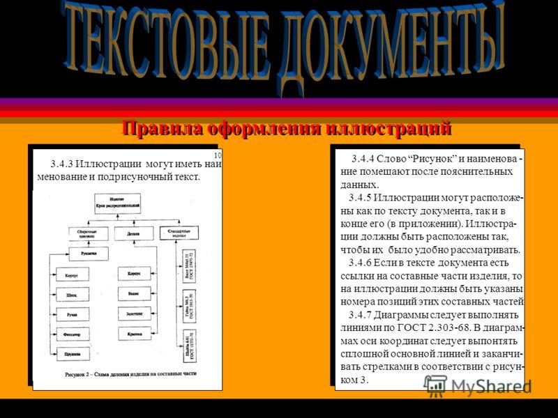 Правила оформления иллюстраций 3.4.4 Слово Рисунок и наименова - ние помещают после пояснительных данных. 3.4.5 Иллюстрации могут расположе- ны как по тексту документа, так и в конце его (в приложении). Иллюстра- ции должны быть расположены так, чтоб