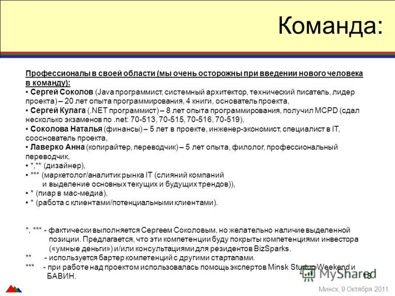 Команда: Профессионалы в своей области (мы очень осторожны при введении нового человека в команду): Сергей Соколов (Java программист, системный архитектор, технический писатель, лидер проекта) – 20 лет опыта программирования, 4 книги, основатель прое