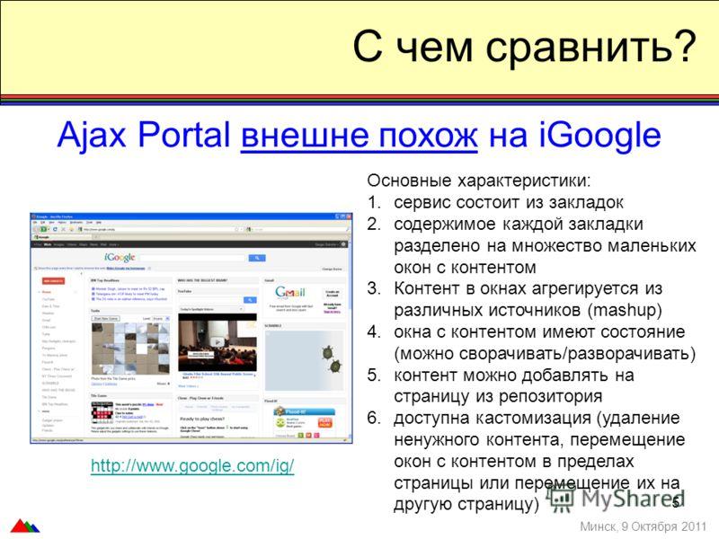 5 С чем сравнить? Ajax Portal внешне похож на iGoogle Минск, 9 Октября 2011 Основные характеристики: 1.сервис состоит из закладок 2.содержимое каждой закладки разделено на множество маленьких окон с контентом 3.Контент в окнах агрегируется из различн
