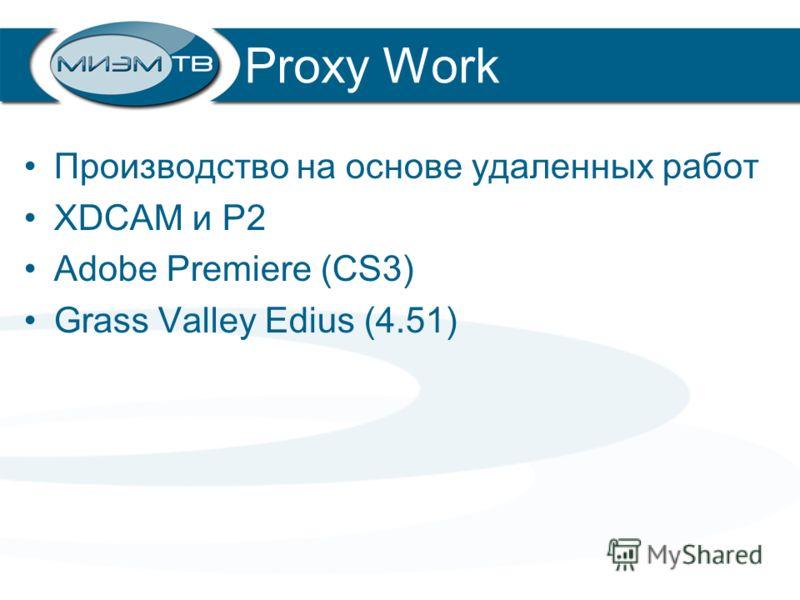Proxy Work Производство на основе удаленных работ XDCAM и P2 Adobe Premiere (CS3) Grass Valley Edius (4.51)