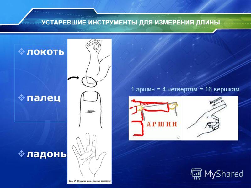 УСТАРЕВШИЕ ИНСТРУМЕНТЫ ДЛЯ ИЗМЕРЕНИЯ ДЛИНЫ локоть палец ладонь ладонь 1 аршин = 4 четвертям = 16 вершкам