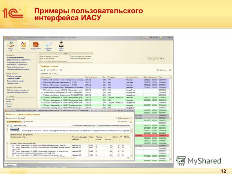 Примеры пользовательского интерфейса ИАСУ 12