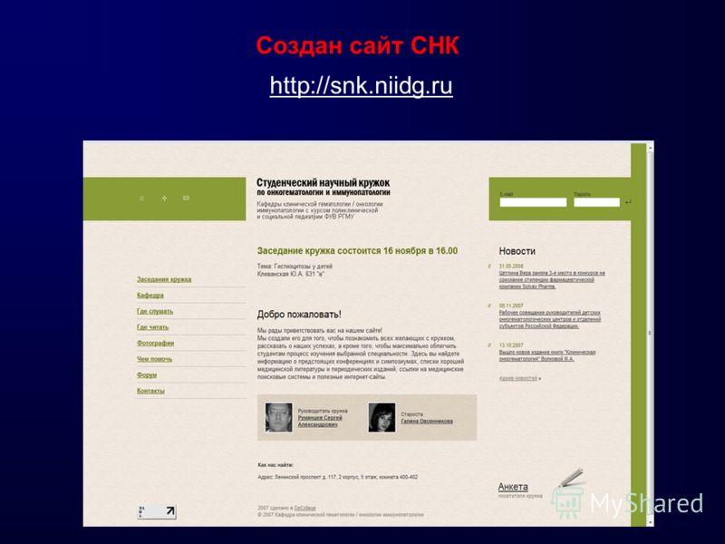 Создан сайт СНК http://snk.niidg.ru