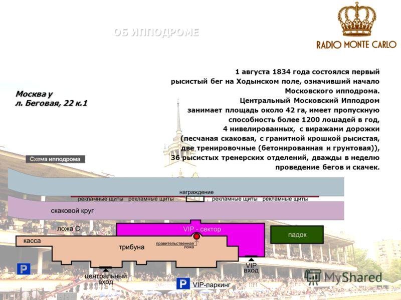 ОБ ИППОДРОМЕ Москва у л. Беговая, 22 к.1 1 августа 1834 года состоялся первый рысистый бег на Ходынском поле, означивший начало Московского ипподрома. Центральный Московский Ипподром занимает площадь около 42 га, имеет пропускную способность более 12