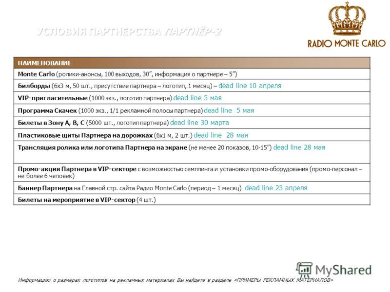 НАИМЕНОВАНИЕ Monte Carlo (ролики-анонсы, 100 выходов, 30, информация о партнере – 5) Билборды (6х3 м, 50 шт., присутствие партнера – логотип, 1 месяц) – dead line 10 апреля VIP-пригласительные (1000 экз., логотип партнера) dead line 5 мая Программа С