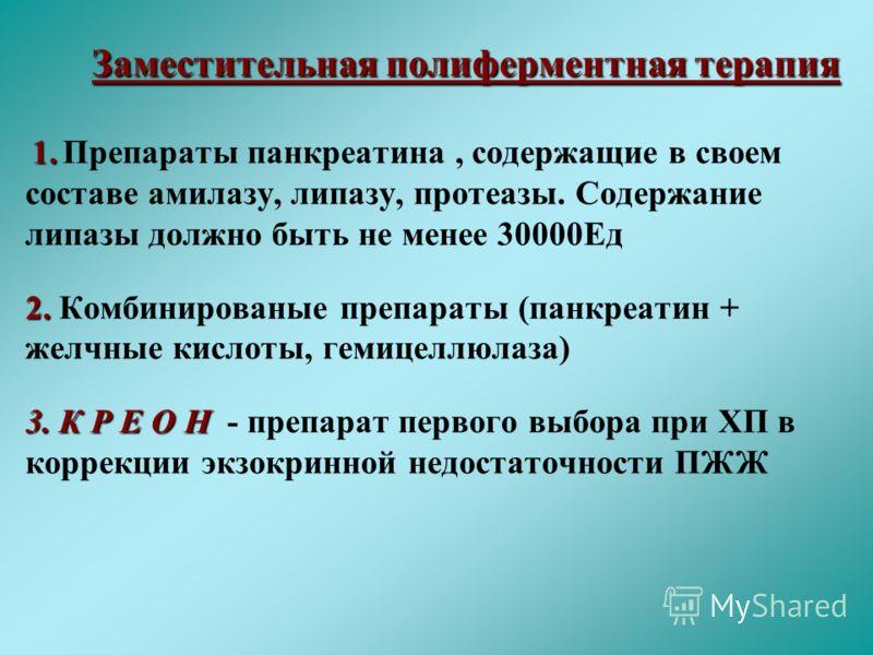 Заместительная полиферментная терапия Заместительная полиферментная терапия 1. 1. Препараты панкреатина, содержащие в своем составе амилазу, липазу, протеазы. Содержание липазы должно быть не менее 30000Ед 2. 2. Комбинированые препараты (панкреатин +